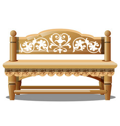 Elegant wooden bench with carved patterns isolated vector