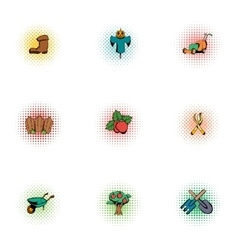 Farming icons set pop-art style vector