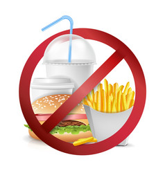 Fast food danger no food allowed symbol vector