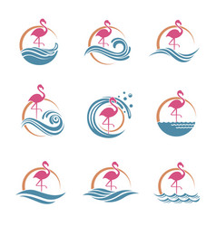 Flamingo emblems set vector