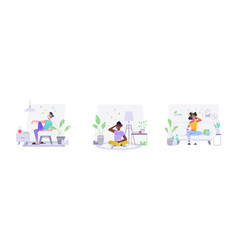 flat people characters at home listening to music vector image