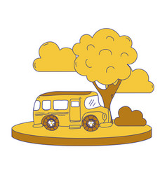 full color school bus in the city with clouds and vector image