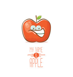 Funny cartoon cute red apple character vector