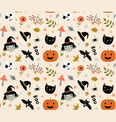 funny pattern for halloween with a witch and a cat vector image