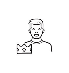 game leader with crown hand drawn outline doodle vector image