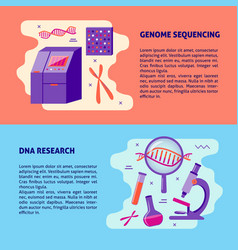 Genome sequencing and dna research medical banner vector