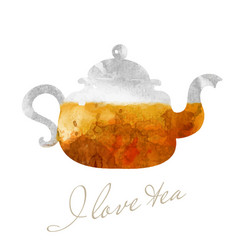 Glassy teapot with tea watercolor picture vector