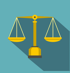 Gold scales of justice icon flat style vector