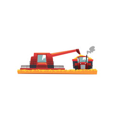 Grain combine harvester and tractor working in vector