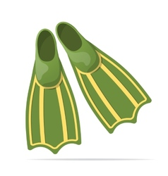 Green flippers for diving - vector