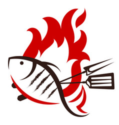 grilled fish silhouette vector image