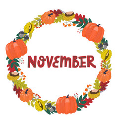 Hand drawing lettering month november in a vector
