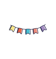 Happy birthday garland flags decoration vector