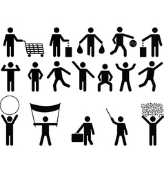 Human pictograms with different objects vector