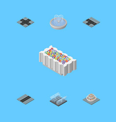 isometric architecture set of fountain vector image