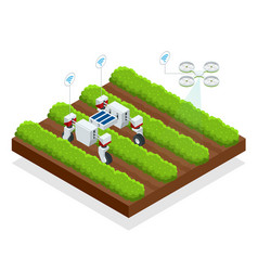 Isometric automatic controlled robots harvest vector