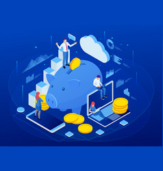 Isometric businessman putting a coin into a piggy vector