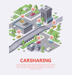 Isometric carsharing map 3d of vector