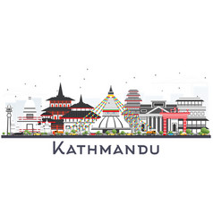 Kathmandu nepal skyline with gray buildings vector