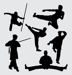 kungfu martial art sport silhouette vector image