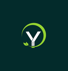 letter y leaf naturally creative business logo vector image