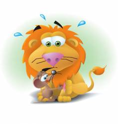 lion and mouse vector image