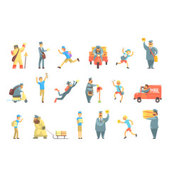messengers and courier men at work set vector image