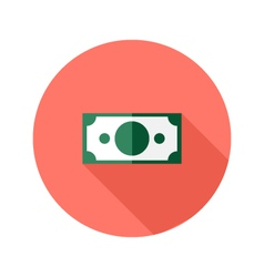 Money Banknote Circle Flat Icon vector image
