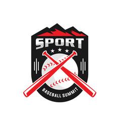 mountain peak baseball logo vector image