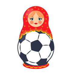 nesting doll with football ball colorful poster vector image
