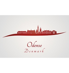 Odense skyline in red vector image