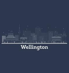 Outline wellington new zealand city skyline with vector