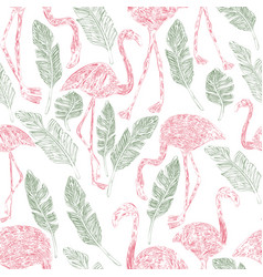 pencil flamingo palm leaves seamless pattern vector image