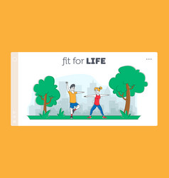 people sports exercises in park landing page vector image