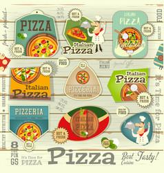 Pizza stickers set vector