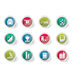 Print industry icons over colored background vector