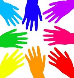 Rainbow hands vector image