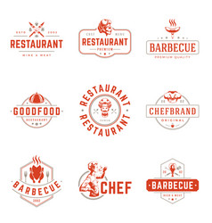 Restaurant logos templates objects set vector