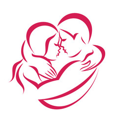 romantic love couple icon stylized symbol vector image