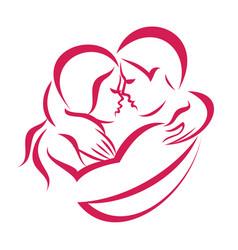 Romantic love couple icon stylized symbol vector