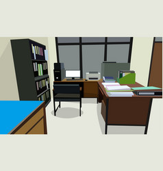room office workplace design interior with vector image