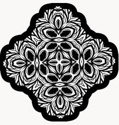 seamless black mandala on white vector image