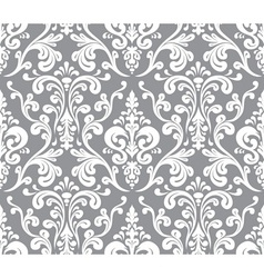 Seamless elegant damask pattern Grey and white vector image