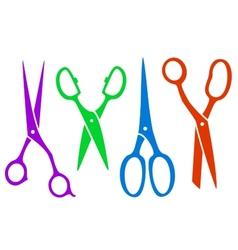 set colorful four scissors vector image