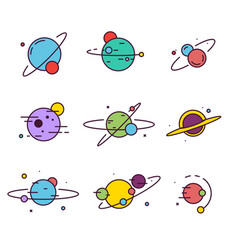 set extraterrestrial planets vector image