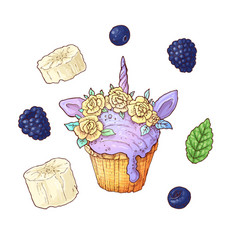 Set ice cup cake unicorn blackberry banana vector