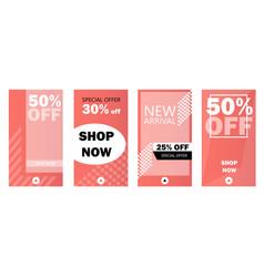 Set instagram stories sale banner background vector