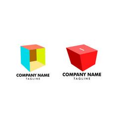 set of box logo template vector image