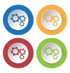 Set of four icons - three cogwheel vector