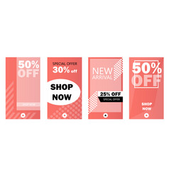 Set of instagram stories sale banner background vector